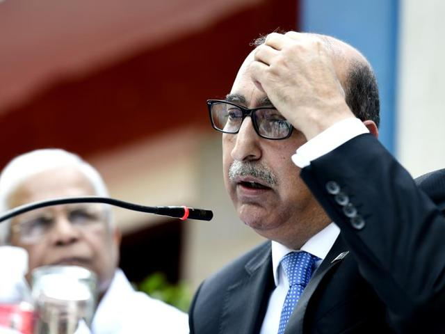 Pakistan high commissioner Abdul Basit at a press conference in New Delhi on Thursday.