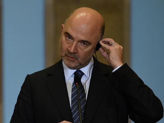 European commissioner for economic and financial affairs Pierre Moscovici at a news conference in Lisbon, Portugal.