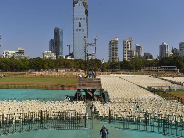 Shivaji Park being readied for the Maharashtra Navnirman Sena rally.