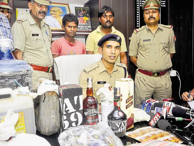 The police said the factory was set up for manufacturing spurious liquor that was packed in branded IMFL bottles.