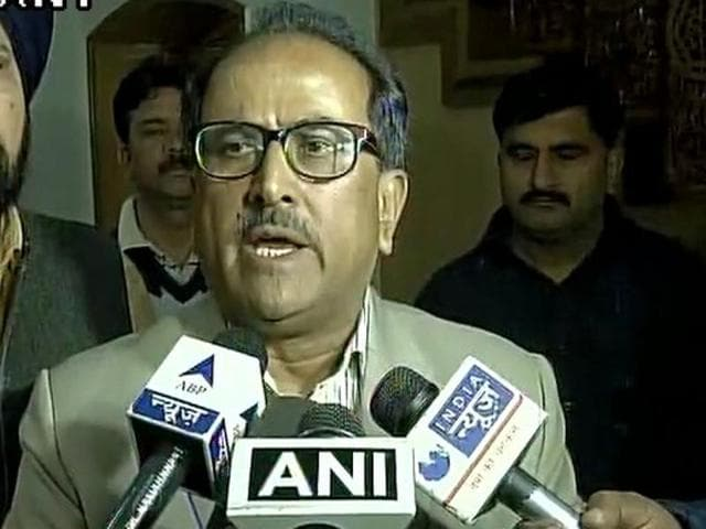 Nirmal Singh, deputy chief minister of Jammu and Kashmir talks to reporters after a meeting with protesting students of NIT, Srinagar, on April 8, 2016.