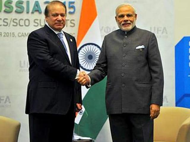 Prime Minister Narendra Modi shakes hands with his Pakistani counterpart Nawaz Sharif ahead of a summit in Russia last year.