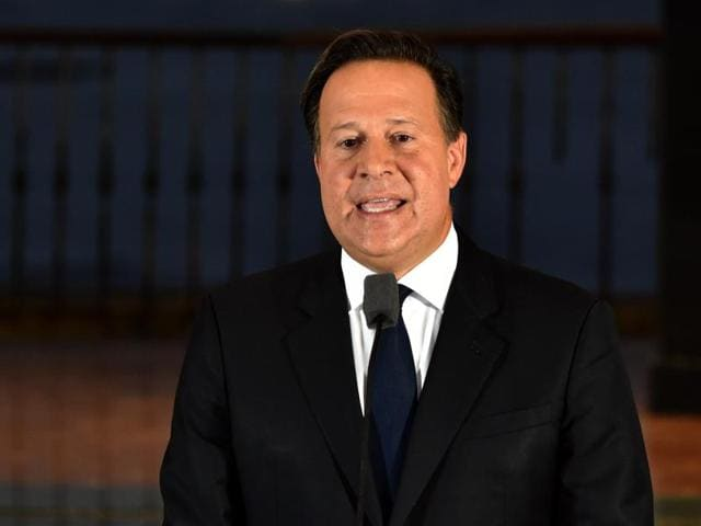 Panamanian President Juan Carlos Varela delivers a speech at Bolivar Palace after a meeting with foreign ambassadors following the massive leak coming from Mossack Fonseca, in Panama City.