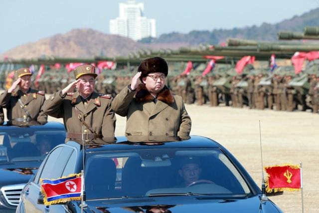 A file photo, what is believed to be an improved version of the KN-08 intercontinental ballistic missile is paraded in Pyongyang, North Korea, during the 70th anniversary celebrations of its ruling party's creation.