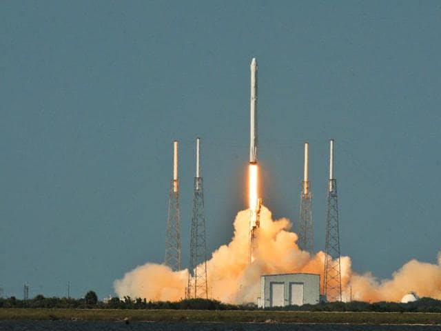 A SpaceX Falcon 9 rocket blasts off from Cape Canaveral, Florida on Friday in this handout photo provided by SpaceX.