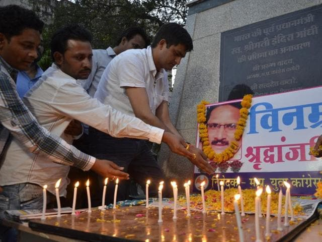 Bhopal, India - April 6, 2016:Youth Congress workers paying tribute to NIA officer Mohammed Tanzil Ahmed during a condolence meeting at PCC office in Bhopal, India.
