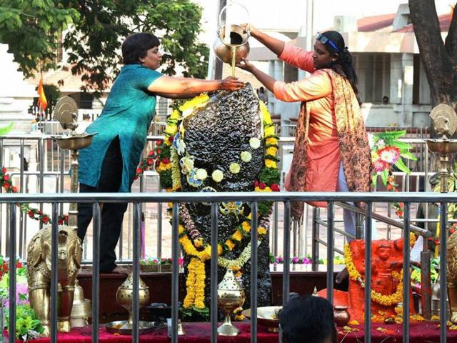 A day after the Shri Shaneshwar Devasthan (Shani Shingnapur Temple) Trust's historic vote for gender equality, thousands of women from different parts of Maharashtra thronged to worship Lord Shanidev on Saturday, officials said.
