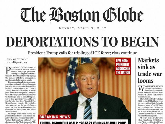 A section of the satirical front page of The Boston Globe published on Saturday. The editorial board of The Boston Globe used the parody to express its uneasiness with a potential Donald Trump presidency.