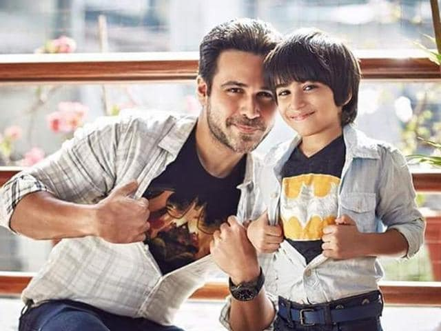 Emraan Hashmi poses with his son, Ayaan who was diagnosed with with first stage cancer at the age of four in early 2014.