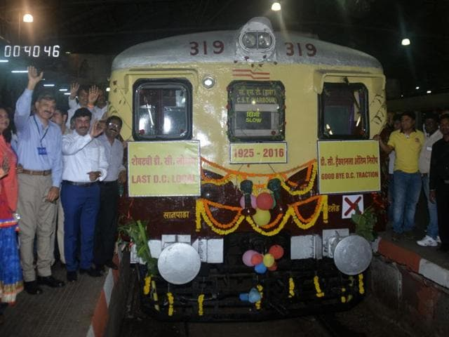 Railway officials and citizens flag off the last DC local from Kurla station on Saturday night.