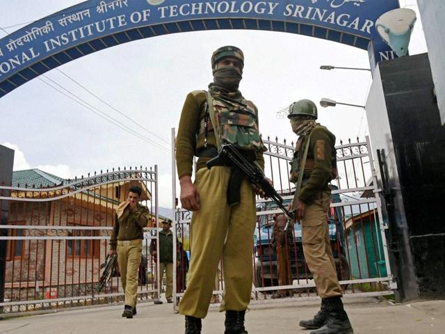 Security forces were deployed at the NIT campus in Srinagar after the unrest at the institute in Srinagar.