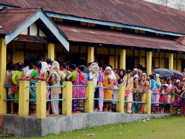 File photo of voters at a polling center during the 1st phase Assam Assembly elections in Deithor.