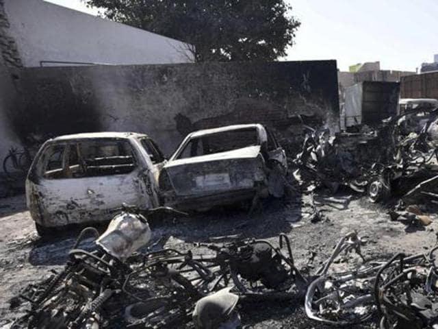 Destruction at Jhajjar caused by the Jat quota agitation.