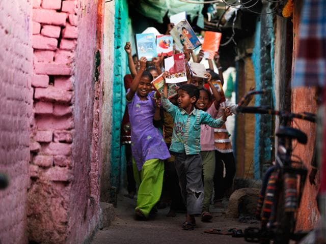 Children at a community education center of a HT Paathshala NGO partner in West Delhi.