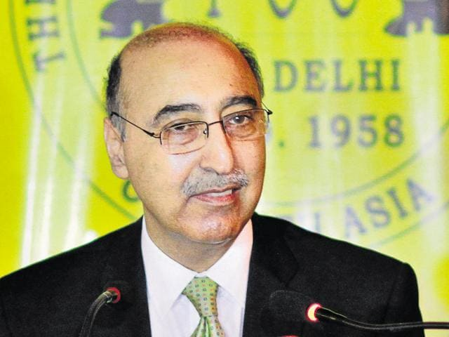 Pakistan high commissioner Abdul Basit speaks during a press conference at the Foreign Correspondent's Club in New Delhi.