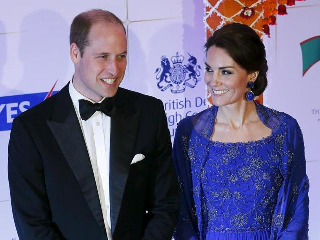 Kate Middleton wore a gown by British designer Jenny Packham. The beadwork of the cobalt blue outfit was done in India.(REUTERS)