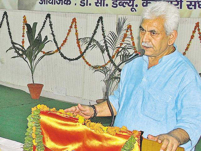 Union minister of state for railways Manoj Sinha speaking at the golden jubilee celebrations of the Bharatiya Railway Mazdoor Sangh in Patiala on Sunday.