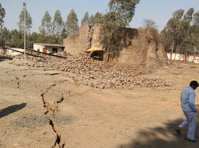 Around one acre land of a closed mine of SECL at Chagera village in Shahdol district caved in.
