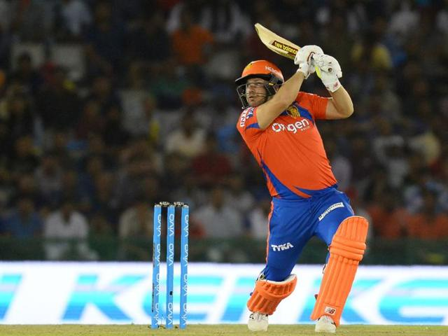 Gujarat Lions Aaron Finch plays a shot during the 2016 Indian Premier League (IPL) Twenty20 cricket match between Gujarat Lions and Kings XI Punjab at The Punjab Cricket Association Stadium in Mohali.