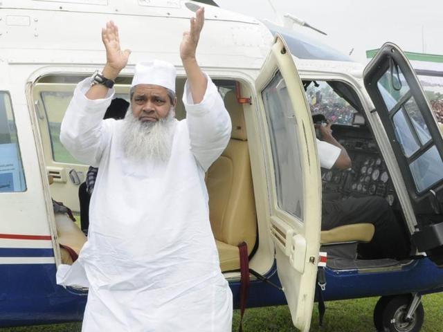 Badruddin Ajmal at Gossaingaon Telipara in Assam India to address an election rally on April 5, 2016.