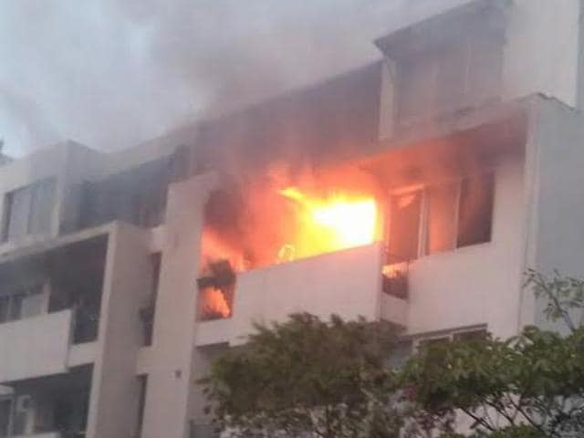 A 90-year-old bed-ridden man died of asphyxia in Vatika City society of Gurgaon after the flat he lived in caught fire on Monday morning.