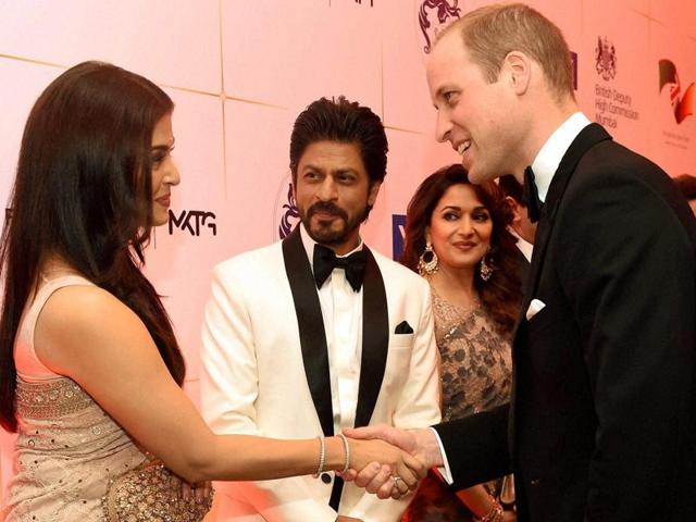 Bollywood stars Shah Rukh Khan, Parineeti Chopra and Aishwarya Rai Bachchan, among others, were present at a reception for Prince William and wife Kate Middleton on Sunday.