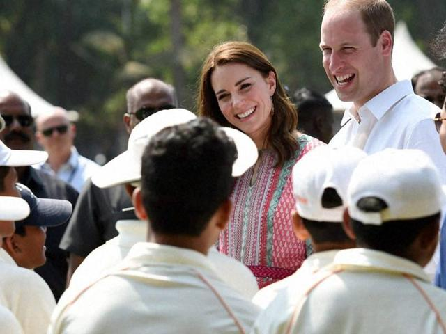 Catherine, Duchess Of Cambridge and Prince William play with children from Magic Bus, Childline and Doorstep, three non-governmental organizations, and watch a game of cricket at Mumbai's iconic recreation ground, the Oval Maidan in Mumbai. (Photo by Kunal Patil/ Hindustan Times)