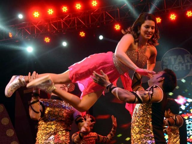 Sunny Leone performs during Star Night Live 2016 in Patna on April 10, 2016.