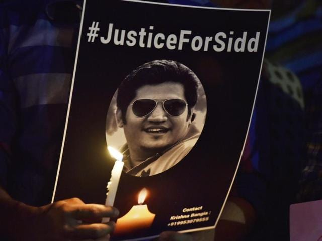 People at Central Park in Connaught Place, New Delhi on Sunday during a candle light vigil demanding justice for Siddharth Sharma who was killed by a speeding Mercedes.