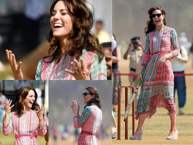 Dongre's dress - a long, breezy printed tunic with Mughal details - looked perfect on Middleton, who is looked at as a style icon globally, during the first day of her maiden visit to India.(Shutterstock)