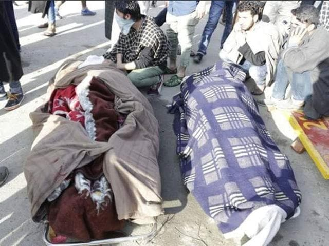 Bodies of the two youth killed in army firing during protests in Kashmir's Handwara.
