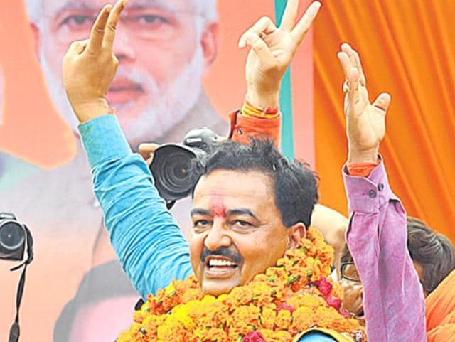 Keshav Prasad Maurya gets a warm welcome on his arrival at the party office in Lucknow on Monday.