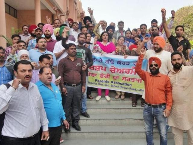 Parents staging a protest outside the DC office in Ludhiana last Friday.