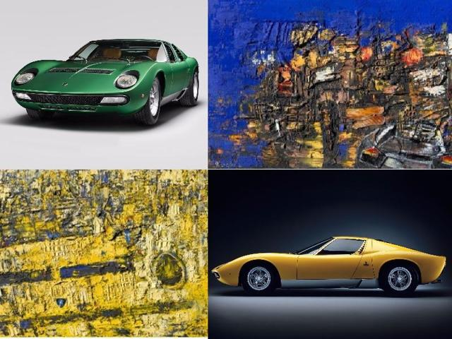 The 10 works on 200x150cm and 180x180cm canvases explore some of the more subtle details of Lamborghini design language past and present.