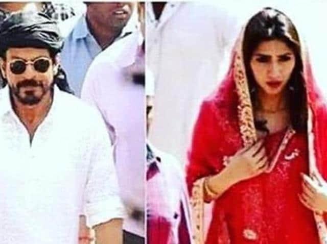 SRK and Mahira Khan on the sets of Raees. (Twitter)