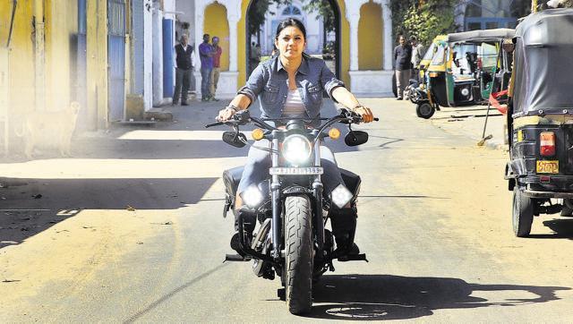 Veenu Paliwal rides her Harley Davidson.