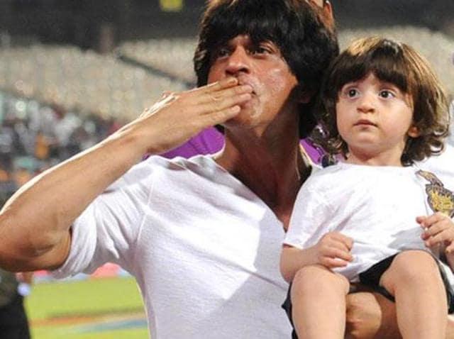 Shah Rukh Khan and AbRam at an IPL match.
