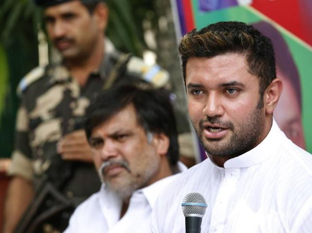 LJP leader Chirag Paswan interacts with journalists during a press conference in New Delhi.
