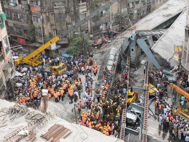 Many were feared dead when a part of an under construction flyover collapsed on Vivekananda road in Kolkata.