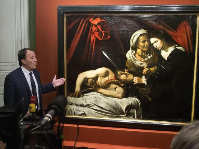 French art expert Stephane Pinta shows a radiography of the painting entitled