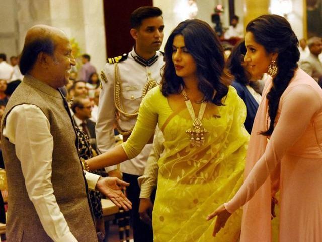 Priyanka Chopra with Sania Mirza and Rajinikanth before receiving their Padma awards during the ceremony at Rashtrapati Bhawan in New Delhi.