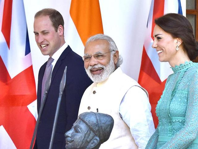 Prime Minister Narendra Modi with Britain's Prince William and his wife, Kate Middleton, the Duchess of Cambridge, at Hyderabad House.