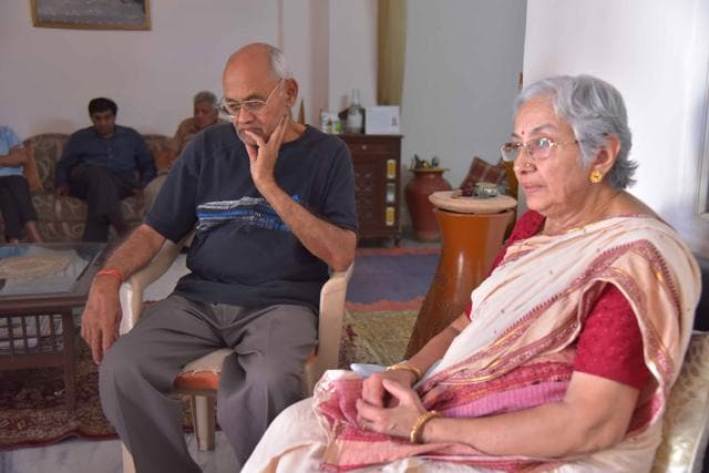 Veenu's father KC Paliwal and mother Hemlata Paliwal at their residence in Jaipur on Tuesday.