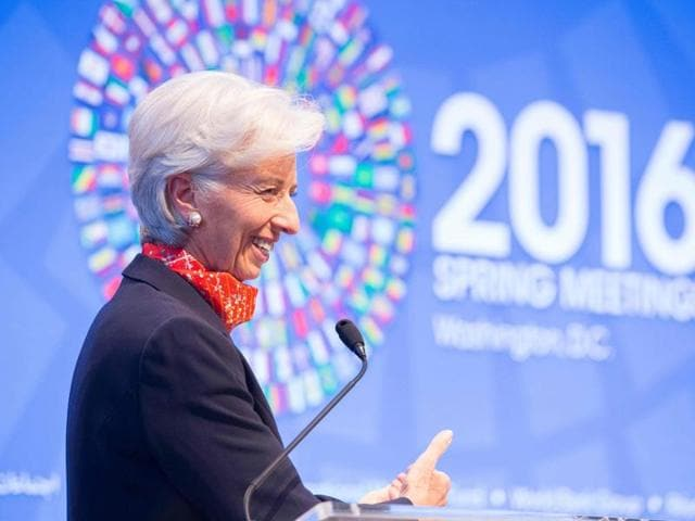 International Monetary Fund managing director Christine Lagarde delivers introductory remarks at the