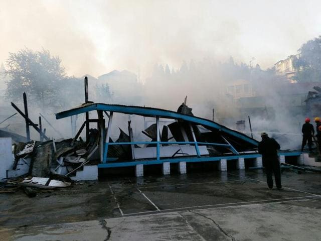 A fire destroyed a 57-year-old private school in Shillong on Wednesday.