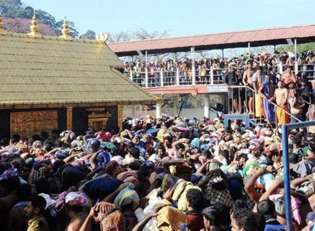 Ayyappa devotees throng at Sannidanam in Sabarimala on Wednesday.
