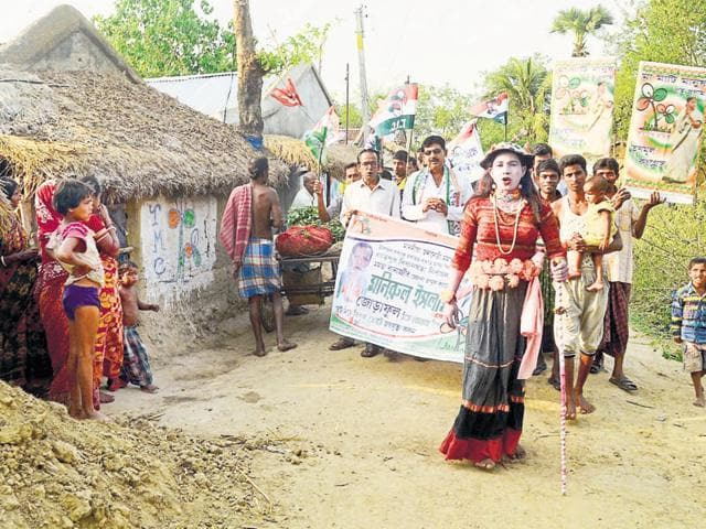 Bohurupis have become an integral part of TMC's campaign, performing skits to attract crowds during the party's rallies.