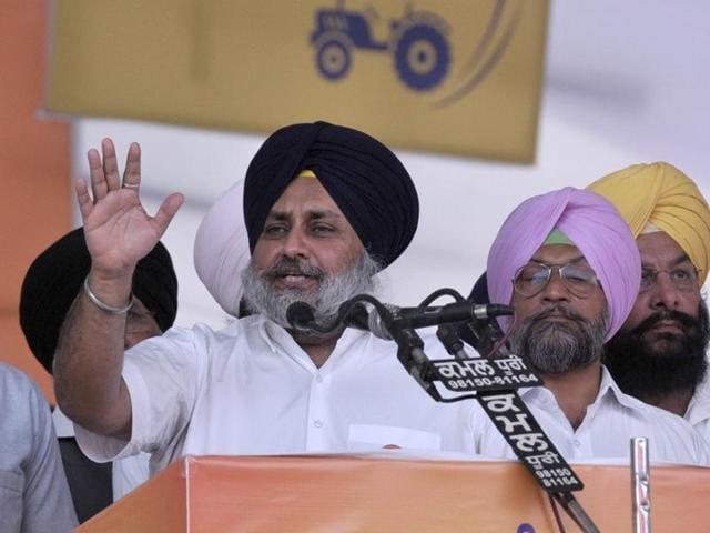 Punjab deputy CM  Sukhbir Singh Badal during the SAD rally at Talwandi Sabo on the occasion of Baisakhi.