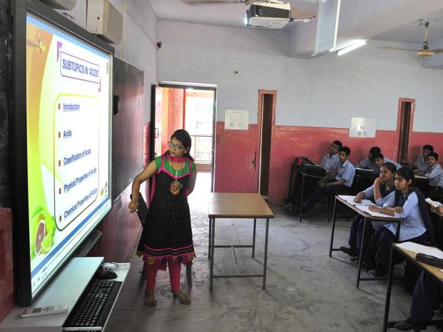 A Smart class in progress at Government Model School, Sector 19, in Chandigarh on Tuesday.