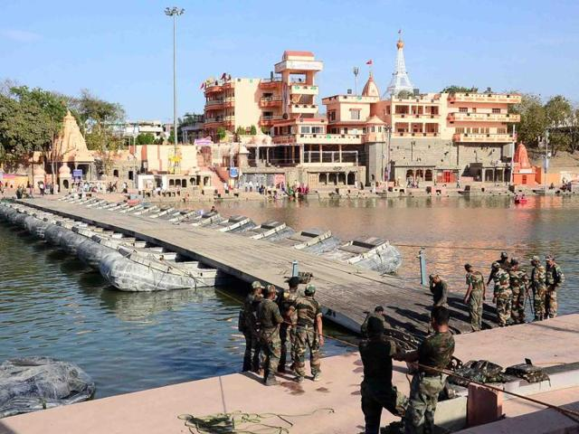At least 30 million visitors are expected to visit Ujjain during the fair starting April 22 and the government is leaving nothing to chance.(HT Photo)